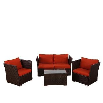 Salon de jardin Siena: canapé 2 places + 2 fauteuils + table ...