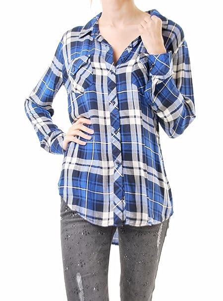 Rails Mujer Carmen Abotonar Rayon Manga Larga Camisetas Cobo/Navy Talla S
