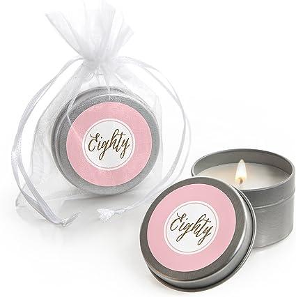 Amazon.com: Chic 80 cumpleaños – rosa y oro – vela en lata ...