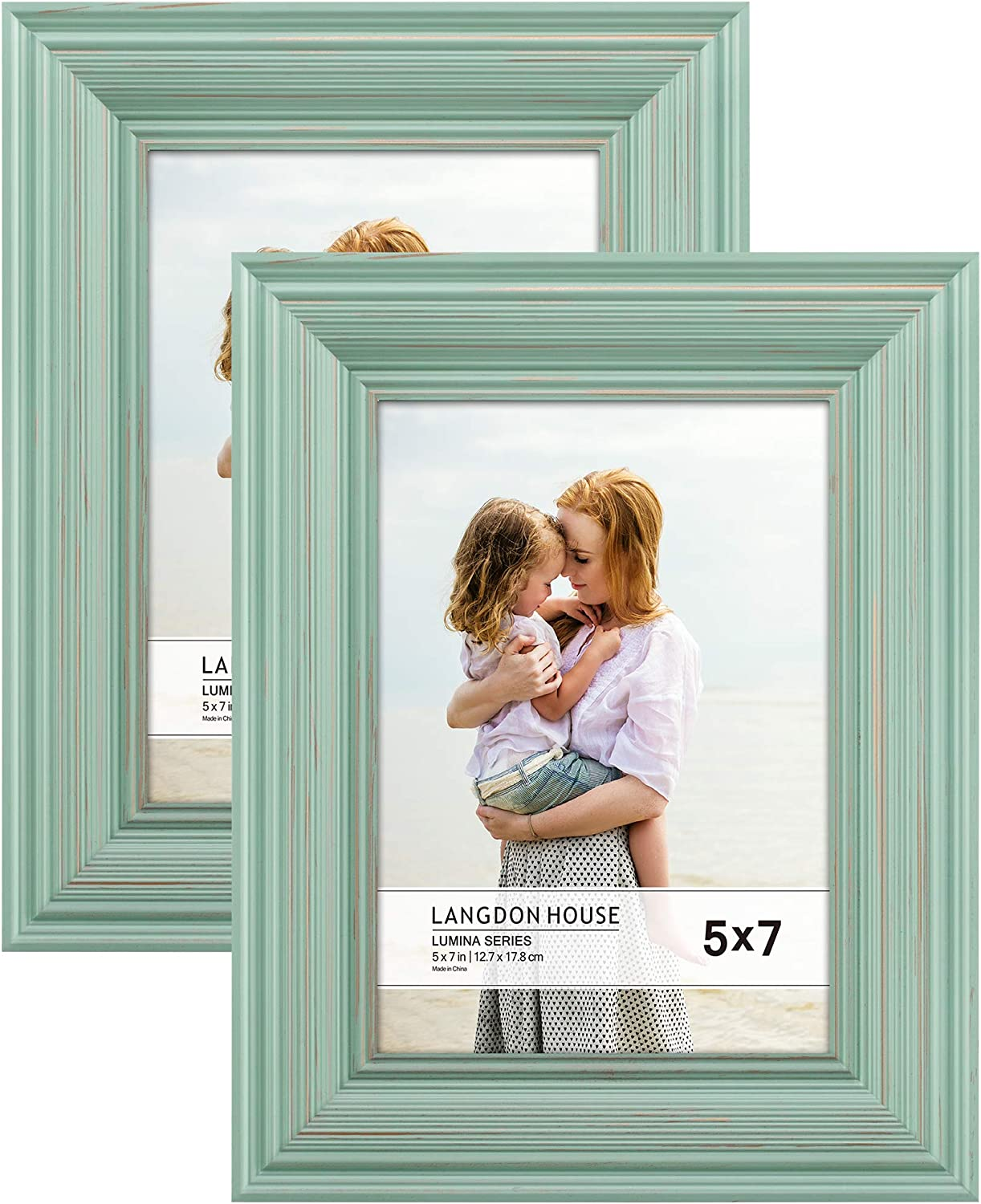 Langdon House 5x7 Real Wood Picture Frames (2 Pack, Eggshell Blue - Gold Accents), Wooden Photo Frame 5 x 7, Wall Mount or Table Top, Lumina Collection
