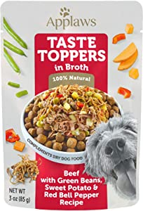 Applaws Taste Toppers Beef, Green Bean & Sweet Potato in Broth Wet Dog Food, 3 oz.