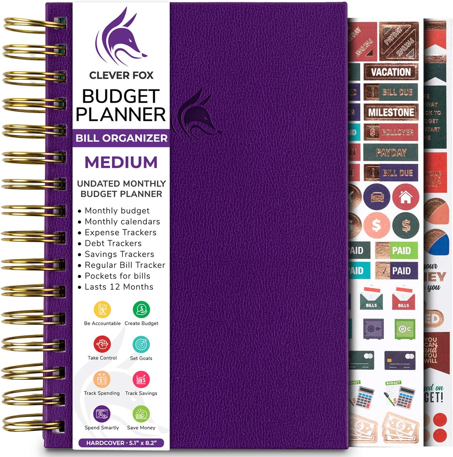 Clever Fox Budget Planner & Monthly Bill Organizer with Pockets. Expense Tracker Notebook, Budgeting Journal and Financial Planner Budget Book to Control Your Money. Medium (5.1