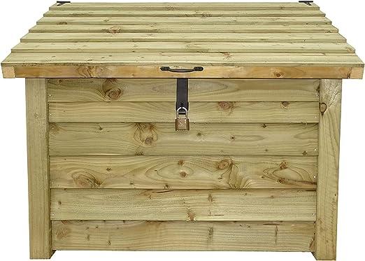 De madera marrón baúl para herramientas Store – Luz Verde – Heavy Duty hecho a mano de madera Leña, leña madera, herramienta al aire libre de almacenamiento – Caseta de jardín: Amazon.es: Jardín