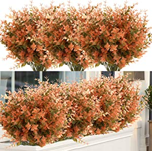ArtBloom 8 Bundles Artificial Fall Boxwood No Fade Faux Autumn Plants, Fake Indoor Outdoor Greenery for Thanksgiving Christmas Wedding Party Home Garden Fireplace Décor (Green Brown)