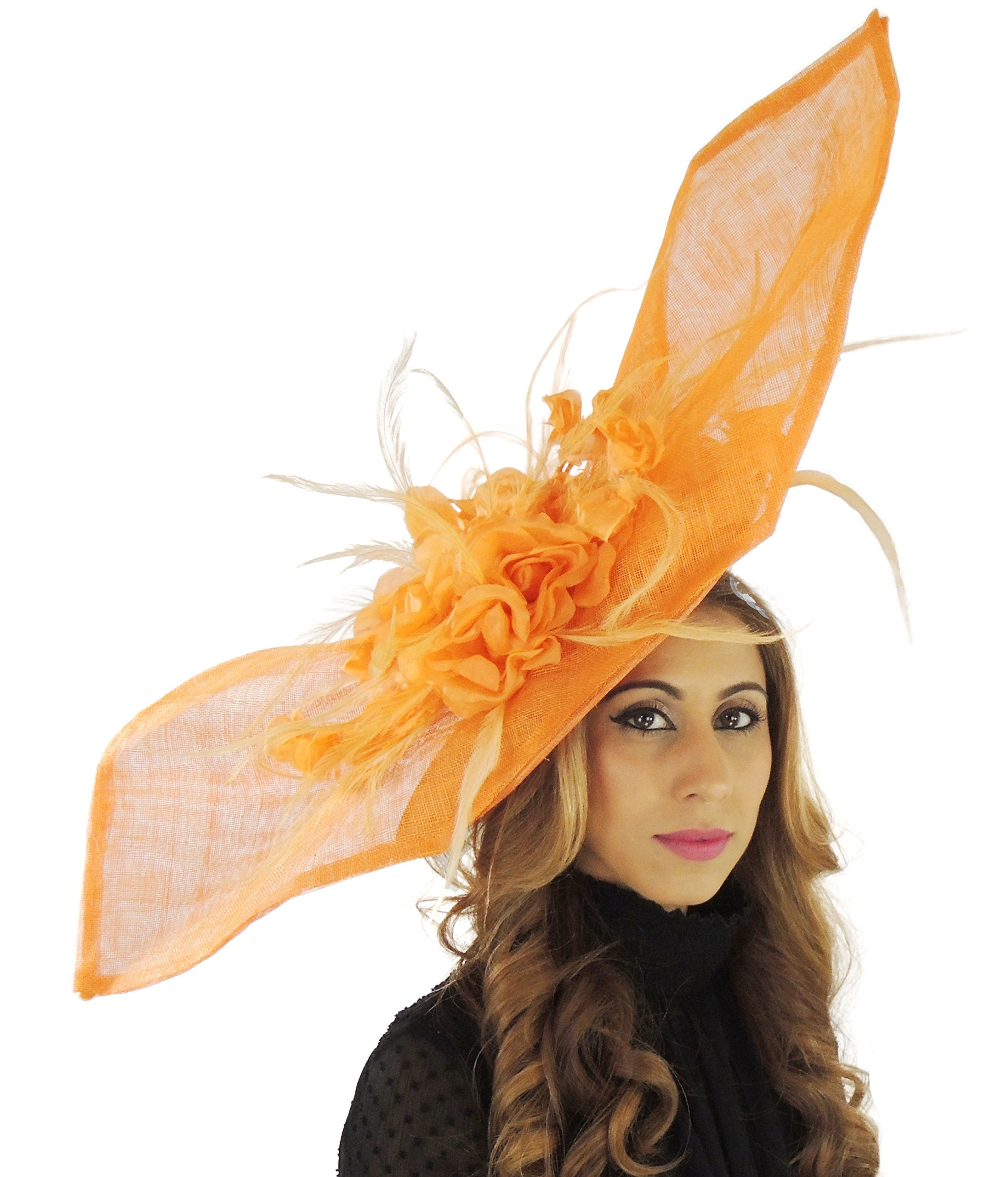 Hats By Cressida Large 36 Inch Elisaveta Sinamay Silk Ascot Fascinator Hat (Orange) by Hats By Cressida