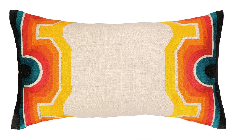 Amazon.com: Trina Turk Residential Linen Embroidered Lumbar Pillow ...