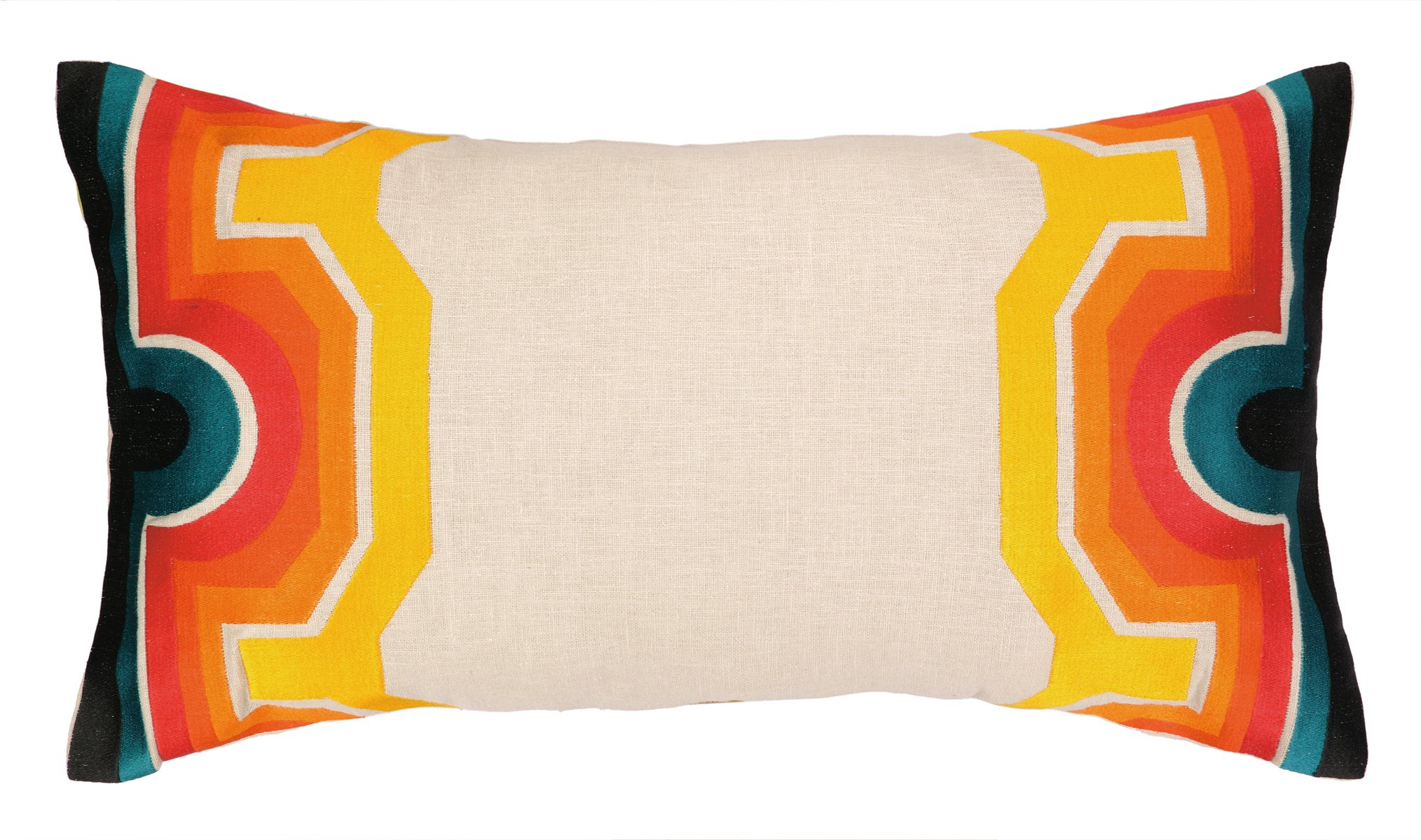 Trina Turk Residential Linen Embroidered Lumbar Pillow, Arcata, Blue/Orange by Trina Turk