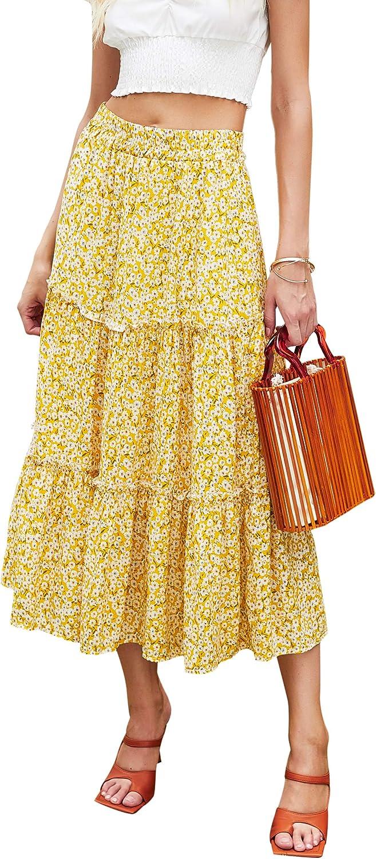Vintage Skirts | Retro, Pencil, Swing, Boho Hibluco Womens Floral Midi Skirts Elastic High Waist A-Line Swing Skirts $26.89 AT vintagedancer.com