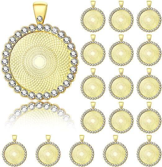5//15pcs Alloy Round Cameo Cabochon Base Setting Charm Pendant DIY Jewelry Crafts