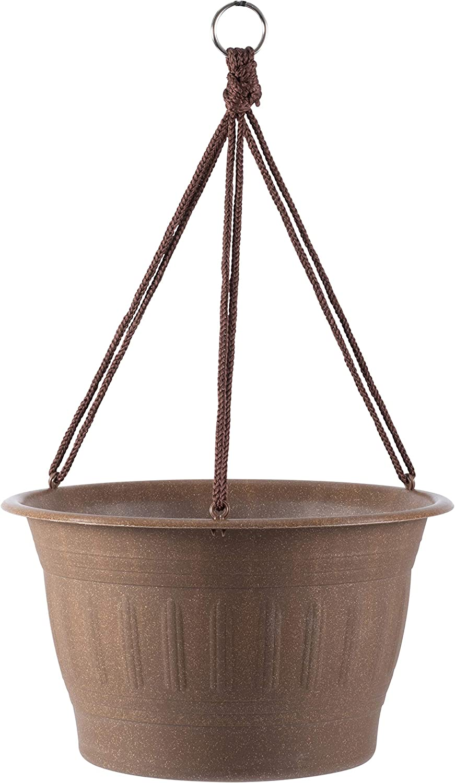 Bloem Colonnade Wood Resin Hanging Basket Planter (CLNHB12-43), Dark Earth Brown, 12