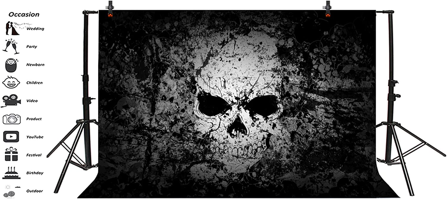 Laeacco Halloween Background 6.5x6.5ft Scary Devil Eyes Vinyl Photography Backdrop Black Dark Back Drop Night Party Grimace Ghost Spider Web Creepy Masked Ball Masquerade Holiday Photo Prop Poster