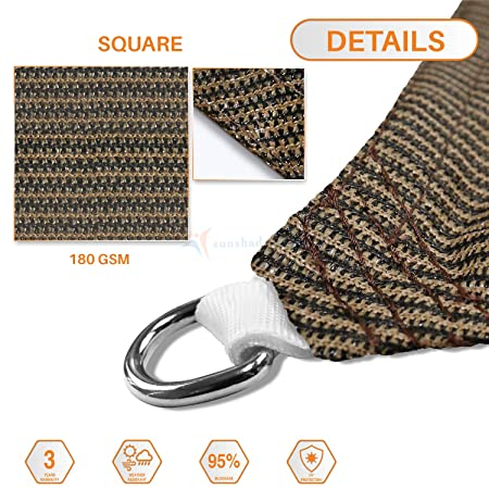 TANG Sunshades Depot Brown 8 x8 Square UV Block Sun Shade Sail Perfect for Outdoor Patio Garden Pergola Gazebo Canopy Dock Deck Playground Preschool Heavy Duty 180 GSM Customize Made Size