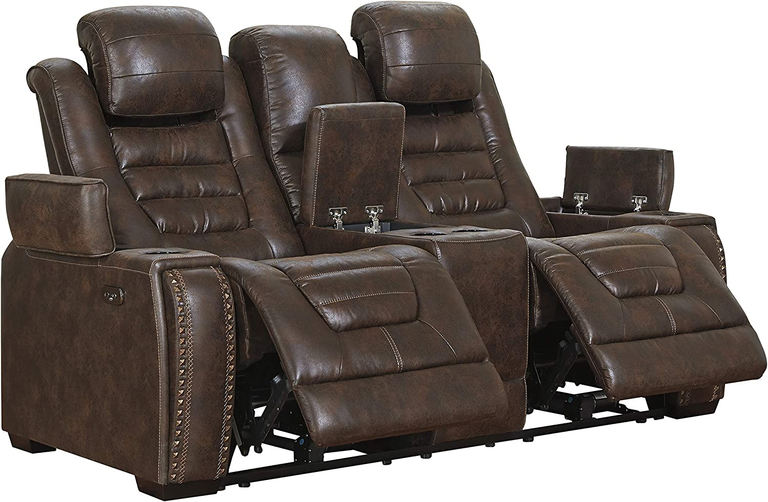 Signature Design by Ashley - Game Zone Contemporary Faux Leather Power Reclining Loveseat - Adjustable Headrest, Dark Brown