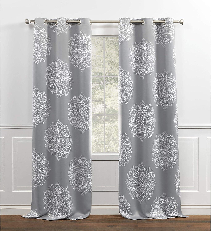 Chaps Madera Room Darkening Medallion Printed Sateen Grommet Top Curtain Panels, 38x84, Grey
