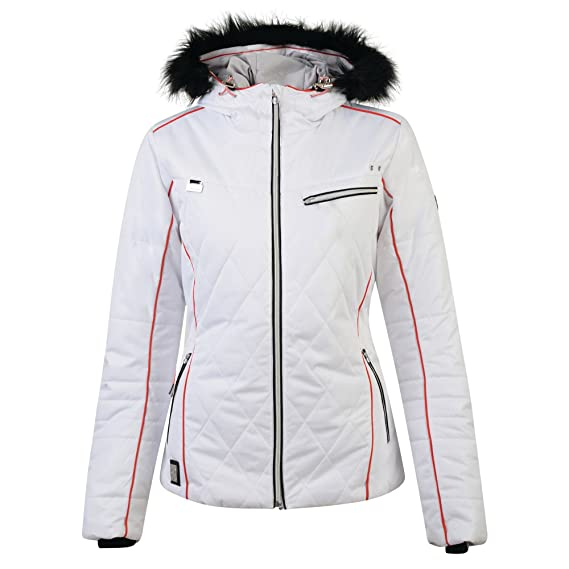 2ae5f9ed43 Dare 2b Womens Ladies Ornate Luxe Ski Jacket (20 UK) (White)  Amazon.co.uk   Clothing