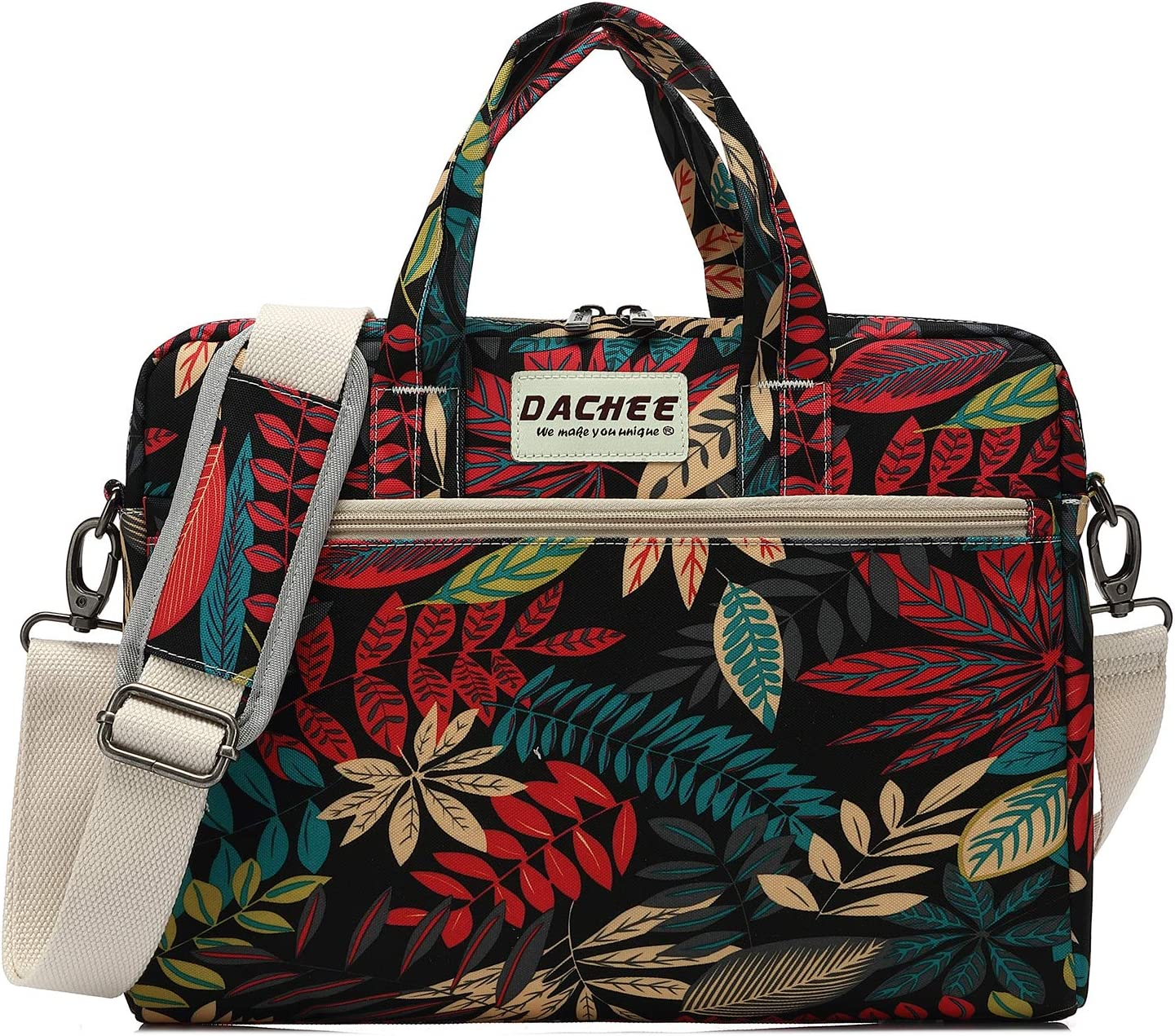 DACHEE Leaves Pattern 15 inch Waterproof Laptop Shoulder Messenger Bag for 14 Inch to15.6 inch Laptop and MacBook Pro 15 Laptop Case