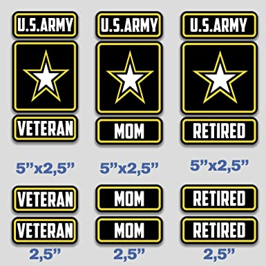 Army Retired Sticker Bumper Vet Veteran us Military American Vinyl Round U.S