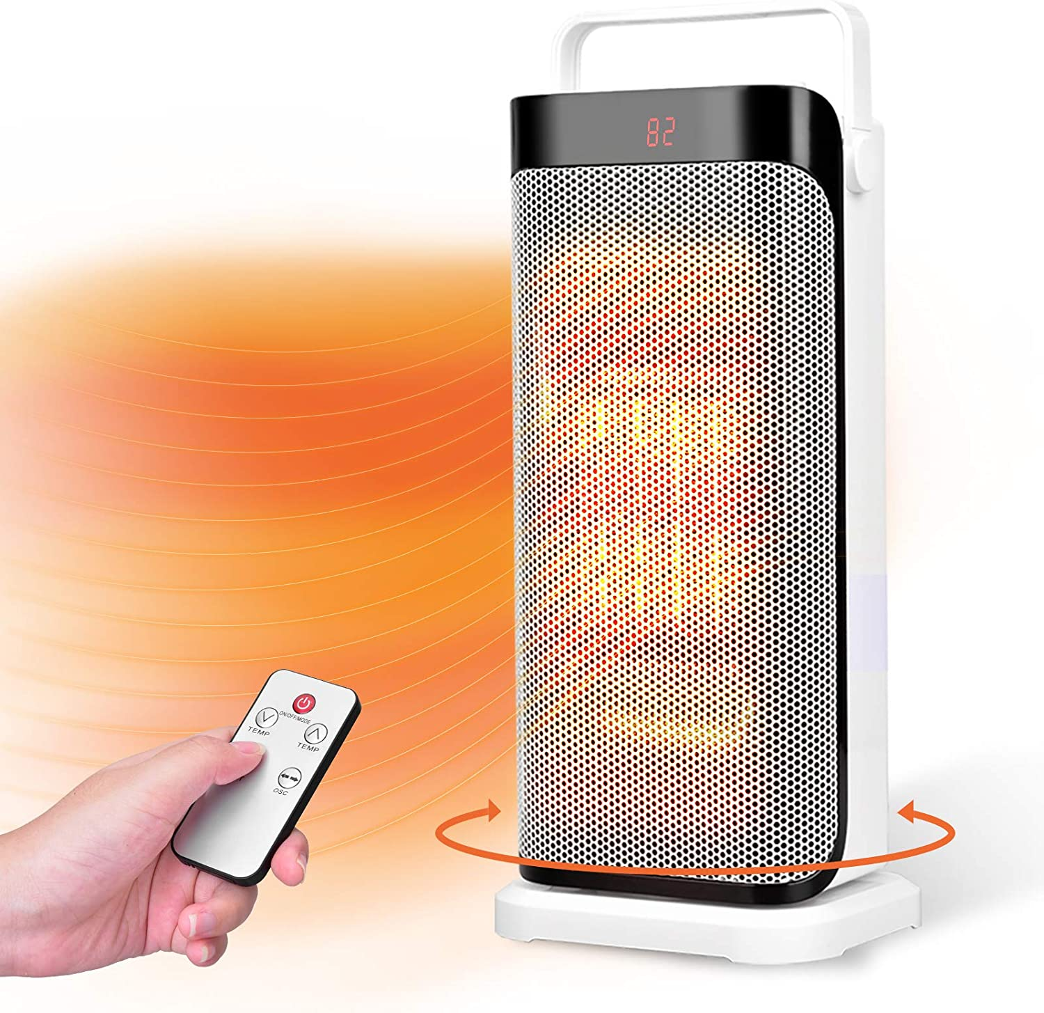 DOUHE Space Heater Portable Electric Ceramic Heaters for Office 950W Oscillating Floor Heater with Digital Thermostat,Tip-over/&Overheating Protection for Home Quiet Personal Heaters Under Desk