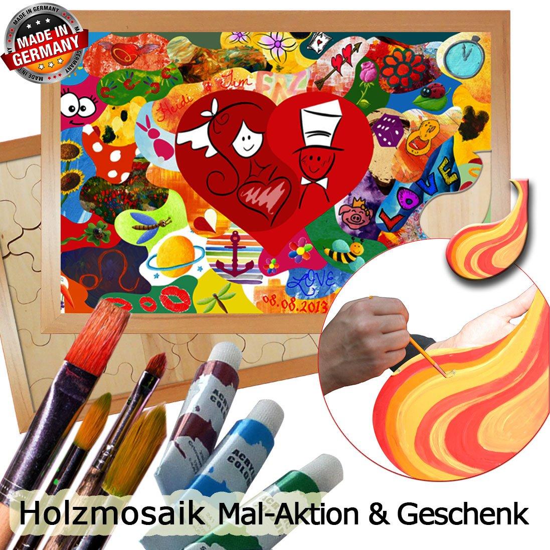 Holzpuzzle zur Hochzeit Hochzeit Hochzeit – Holzmosaik zum Bemalen, Rahmen Weiss, ca. 45 Holz-Puzzle-Teile (80x55 cm) B00JVS49C2 | Optimaler Preis  e21197