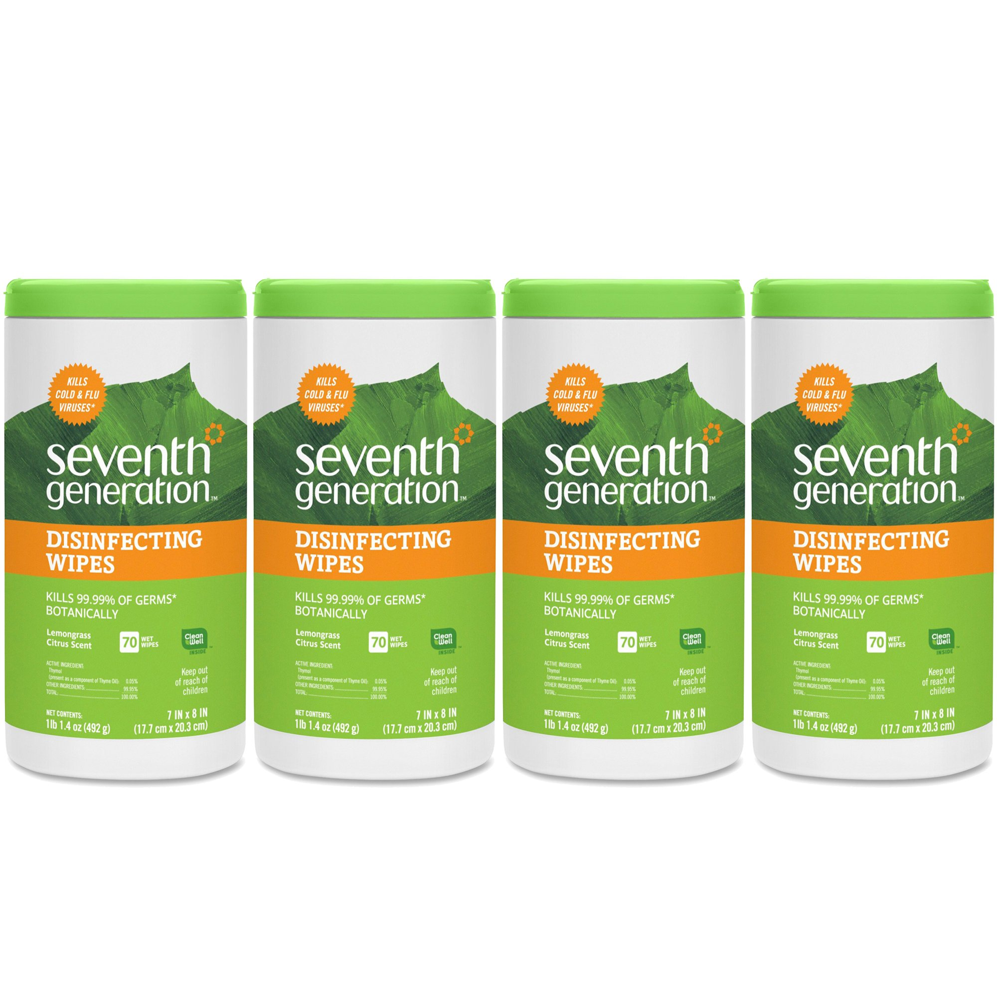 Seventh Generation Disinfecting Multi-Surface Wipes, 70-count Tubs, 4-Pack