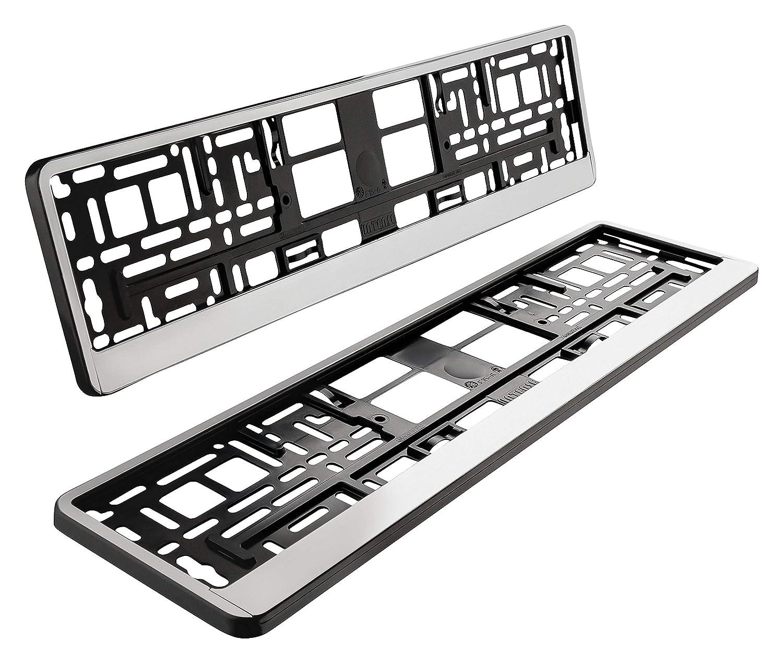 Lot de 2 supports de plaque dimmatriculation en argent mat bross/é chrom/é brillant 520 x 110 mm