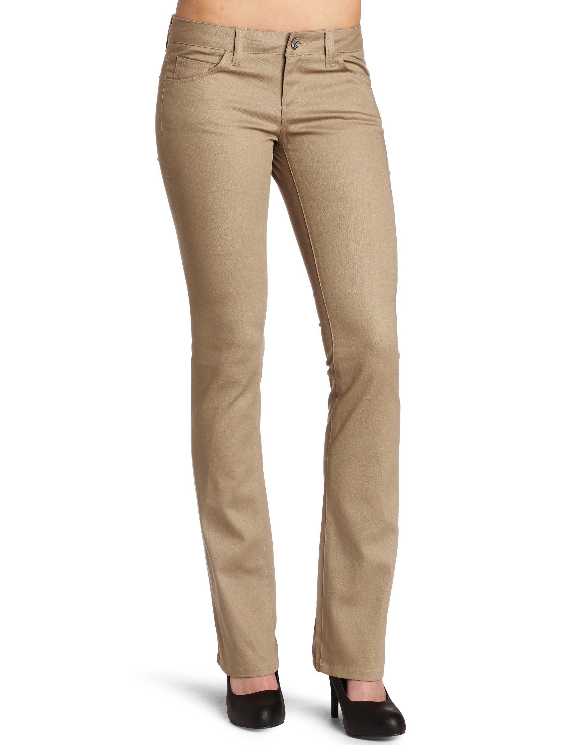 Dickies Girl Juniors 5 Pocket Straight Leg Pant,Khaki,5
