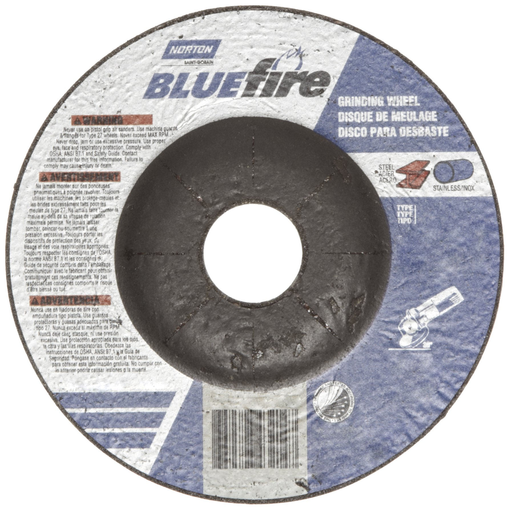 Norton Blue Fire Plus Depressed Center Abrasive Wheel, Type 27, Zirconia Alumina and Aluminum Oxide, 7/8'' Arbor, 4-1/2'' Diameter x 1/4'' Thickness   (Pack of 25)