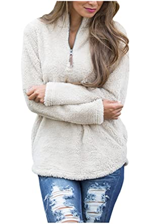 Aifer Women Casual Zipper Collar Sherpa Fleece Pullover at Amazon ...