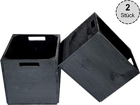 Vinterior - 2 Cajas de Madera Negras para estantería Kallax 33 x 38 x 33 cm IKEA