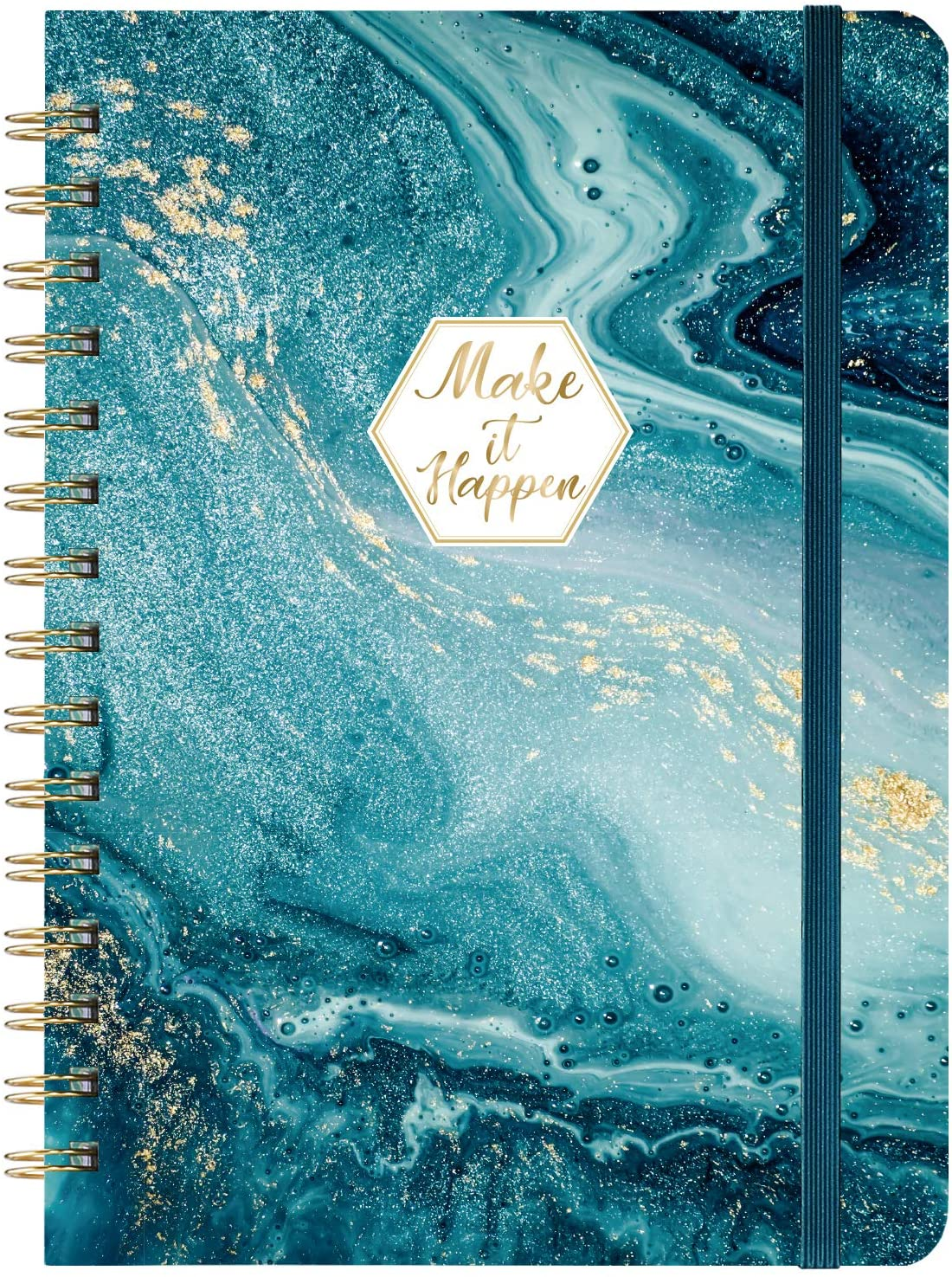 """Ruled Notebook/Journal - Lined Journal with Hardcover and Premium Thick Paper, 8.5"""" x 6.5"""", College Ruled Spiral Notebook/Journal, Strong Twin-Wire Binding, Back Pocket, Blue Pattern"""