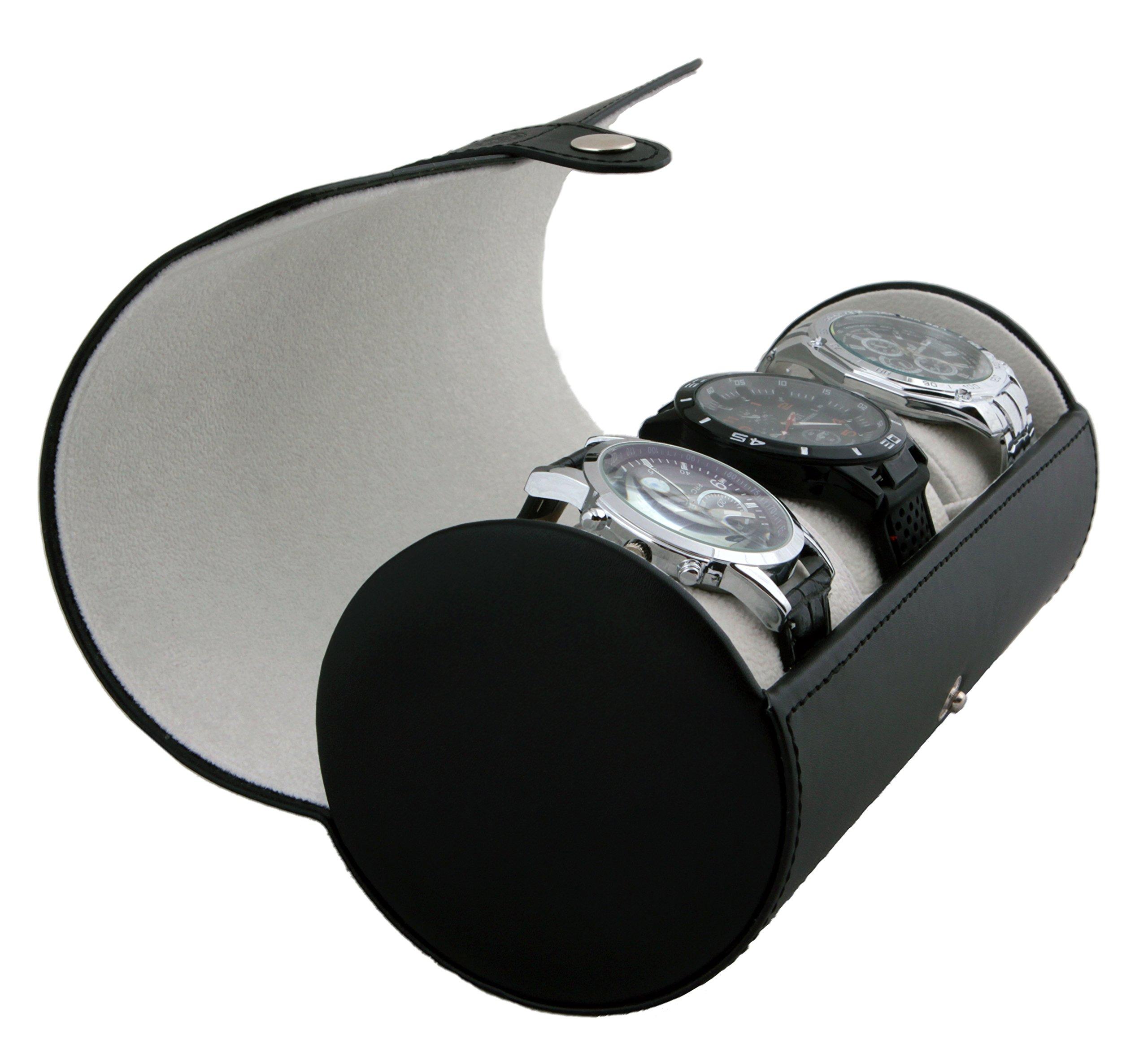 Vegan Leather Travel Watch Case Roll Organizer by Case Elegance - Classic Black