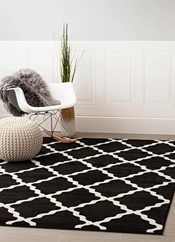 Contemporary Black Trellis Rug 5-Feet by 8-Feet Designer Area Rug