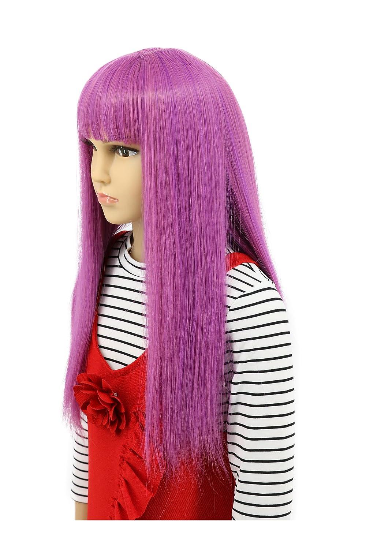 Karlery Child Kids Long Straight Purple Wig Halloween Cosplay Wig Anime Costume Party Wig