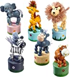 """Drücktiere aus Holz, sechs verschiedene Tiere auf je einem kleinem Podest, mit Spaß auf """"Knopfdruck"""", 6er Pack"""