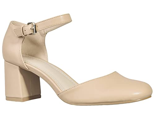b2b65b8986e Greatonu Womens Nude Mid Block Heel Party Closed Square Toe Chunky Dress  Pump Court Shoes Size