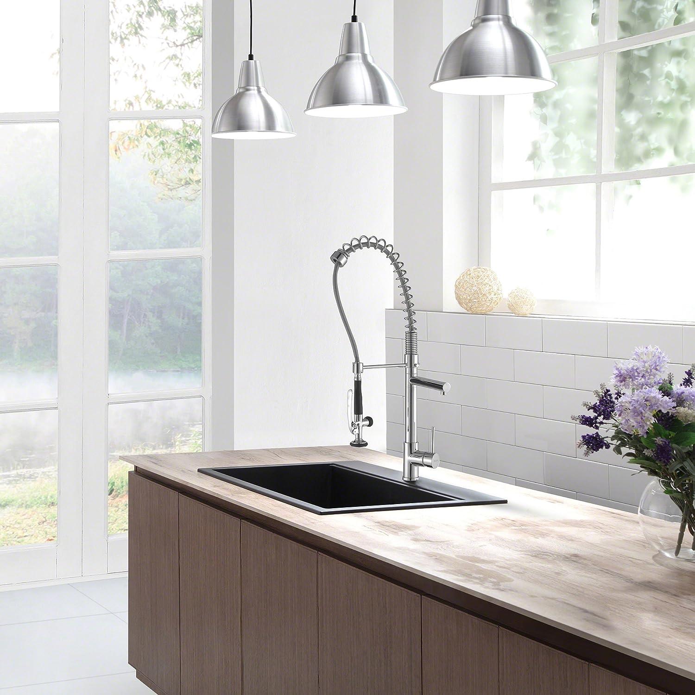 Kraus KGD 412B 31 1/5 Inch Dual Mount Single Bowl Black Onyx Granite  Kitchen Sink   Single Bowl Sinks   Amazon.com