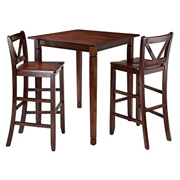 Winsome 3 Piece Kingsgate Dining Table With 2 Bar V Back Chairs, Brown