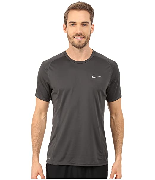 013db08e Amazon.com: Nike Mens Dri-Fit Miler UV Short Sleeve Running Shirt-Anthracite-Large:  Clothing