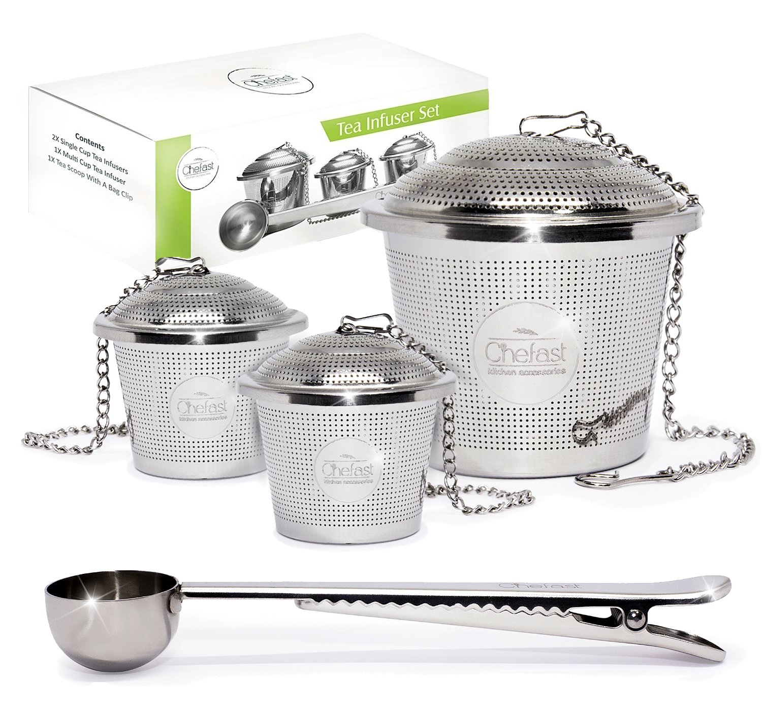 Tea Infuser Set by Chefast (2+1 Pack) - Combo Kit of 1 Large and 2 Single Cup Infusers, Plus Metal Scoop with Clip - Reusable Stainless Steel Strainers and Steepers for Loose Leaf Teas by Chefast