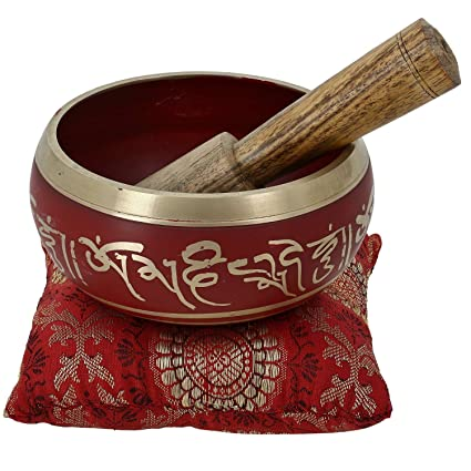 Rojo tibetano arte cantando el tazón de fuente para la meditación budista decoración 10,2 CM
