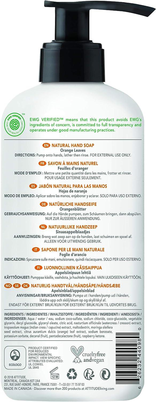 ATTITUDE Super Leaves Jabón de Manos Hojas de Naranjo Dosificador ...
