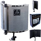 Premium Folding Soundproofing Vocal Booth / Reflection Filter for Recording Studio Vocal Microphone, Create Warmer and Clearer Vocals with Acoustic Sound Proofing Foam for Maximum Absorption, for Professional and Home Studio to Improve Room Acoustics