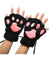 Arshiner Women Bear Plush Cat Paw Claw Glove Soft Winter Gloves