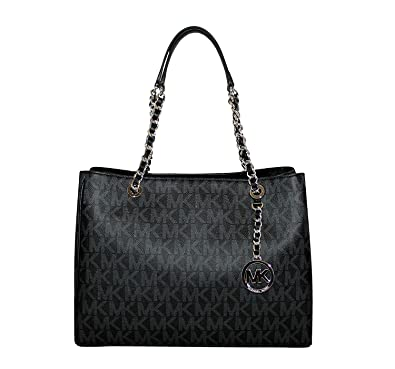 6793a8c1e848 ... cheap michael michael kors susannah large tote satchel leather handbag  black black 053bd 5ae59