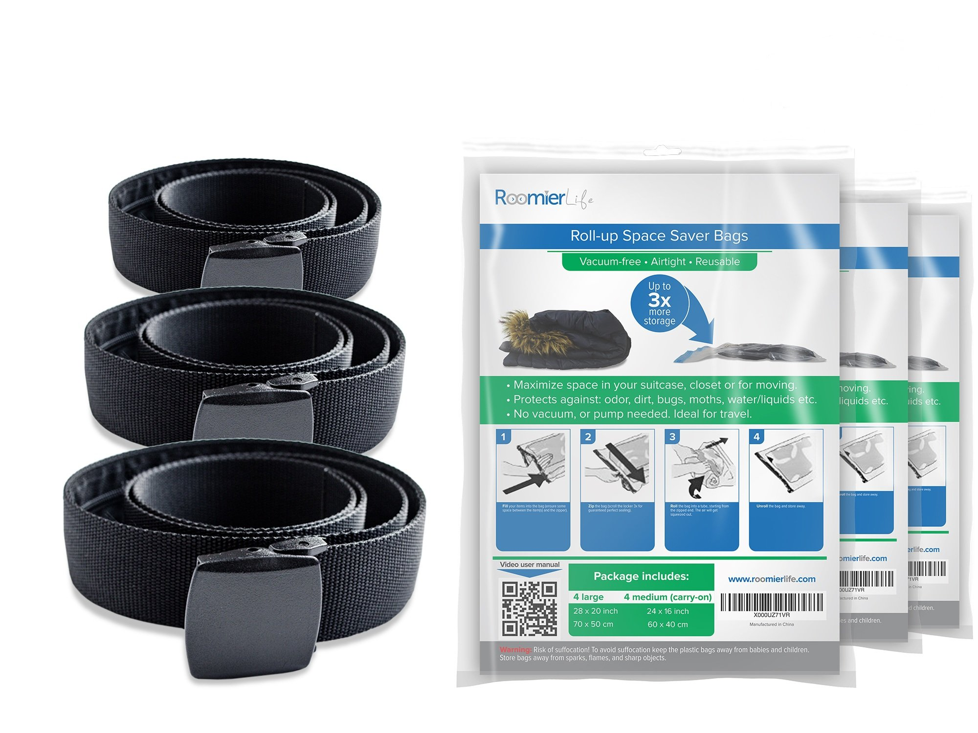 Travel Security Belt & Travel Space Saver Bags 3 Pack Bundle. Includes 3 belts & 3 packs of compression bags (24 bags total) by RoomierLife