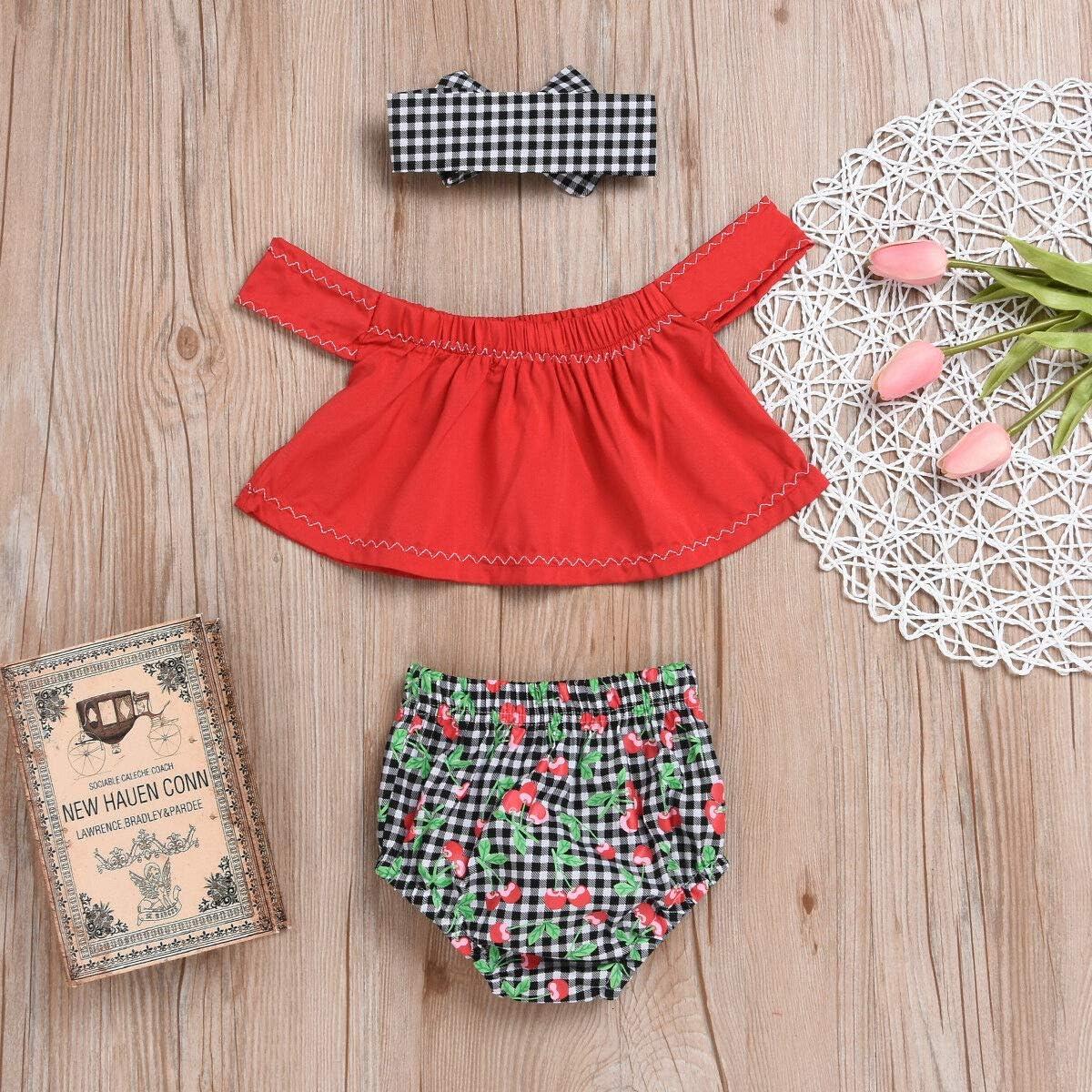 Bowknot Headband Outfit Set Cherry Shorts Pants 3PCS Newborn Baby Girl Tank Tops