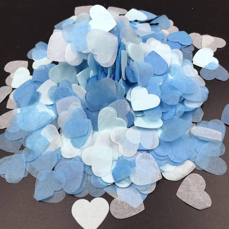 7500 pcs Coeurs De Confettis Tissu Confettis Coeur Bleu Ballon Remplisseur De Papier Table Confettis pour Le Mariage Anniversaire Saint Valentin F/ête Bapt/ême Baby Party D/écoration