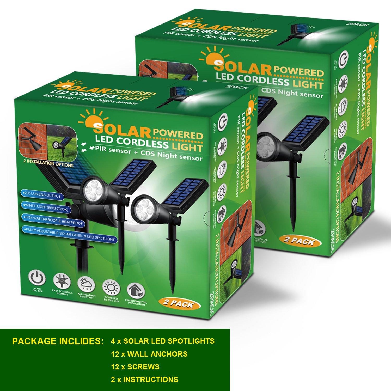 Solar Lights Outdoor, Lovin Product 2-in-1 Adjustable Solar Spotlight with 4 LED; Pir Sensor/ Auto On/Off sensor/ 2 Modes/ IP64 Waterproof/ Super Bright Wall / Landscape Lights (4 Pack) by LOVIN PRODUCT (Image #8)