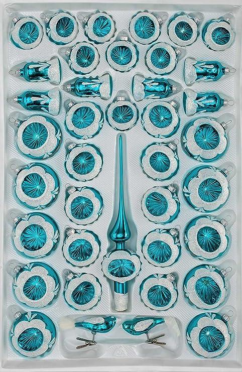 Christbaumkugeln Reflexkugeln.39 Tlg Glas Weihnachtskugeln Set In Hochglanz Vintage Turkis Christbaumkugeln Weihnachtsschmuck Christbaumschmuck Reflektorkugeln Reflexkugeln Re