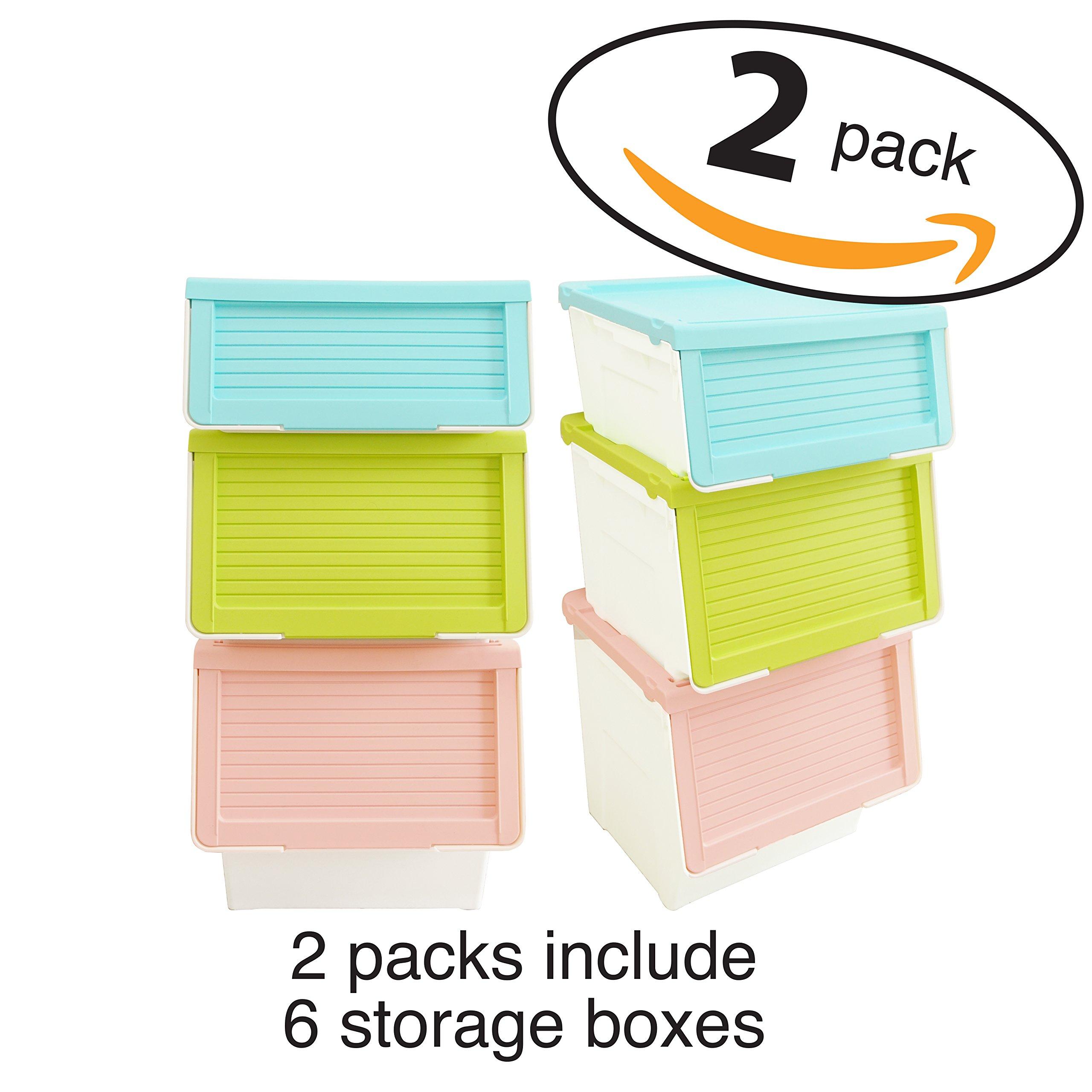 LuxorWare 3 Piece Storage Bins home Organizer for Kids Toys, Clothes & Kitchen food (Blue(S), Pink(M), Green(L)x2)